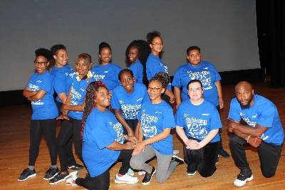 Step and dance class students demonstrate skills for their audience