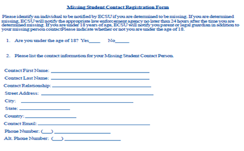 Missing Student Contact Registration Form