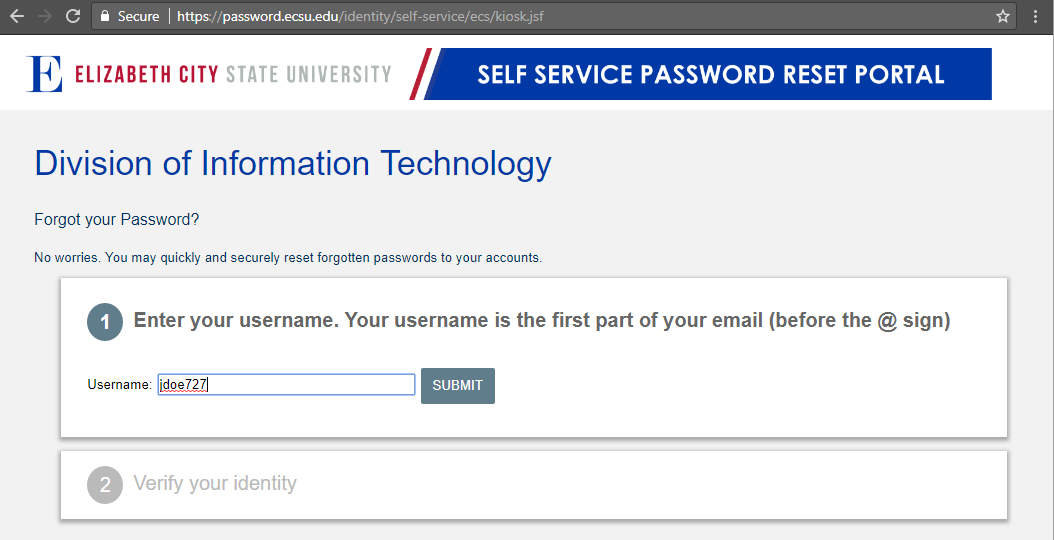 Screen capture of ECSU Password Reset Portal
