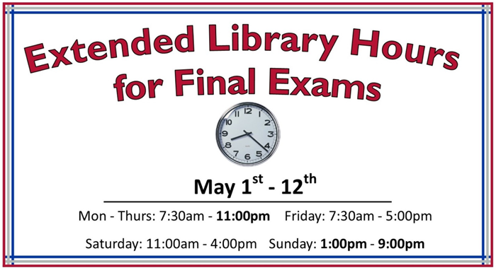 Extended Library Hours through Exams