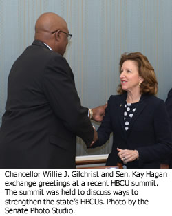 Chancellor Willie J. Gilchrist and Sen. Kay Hagan