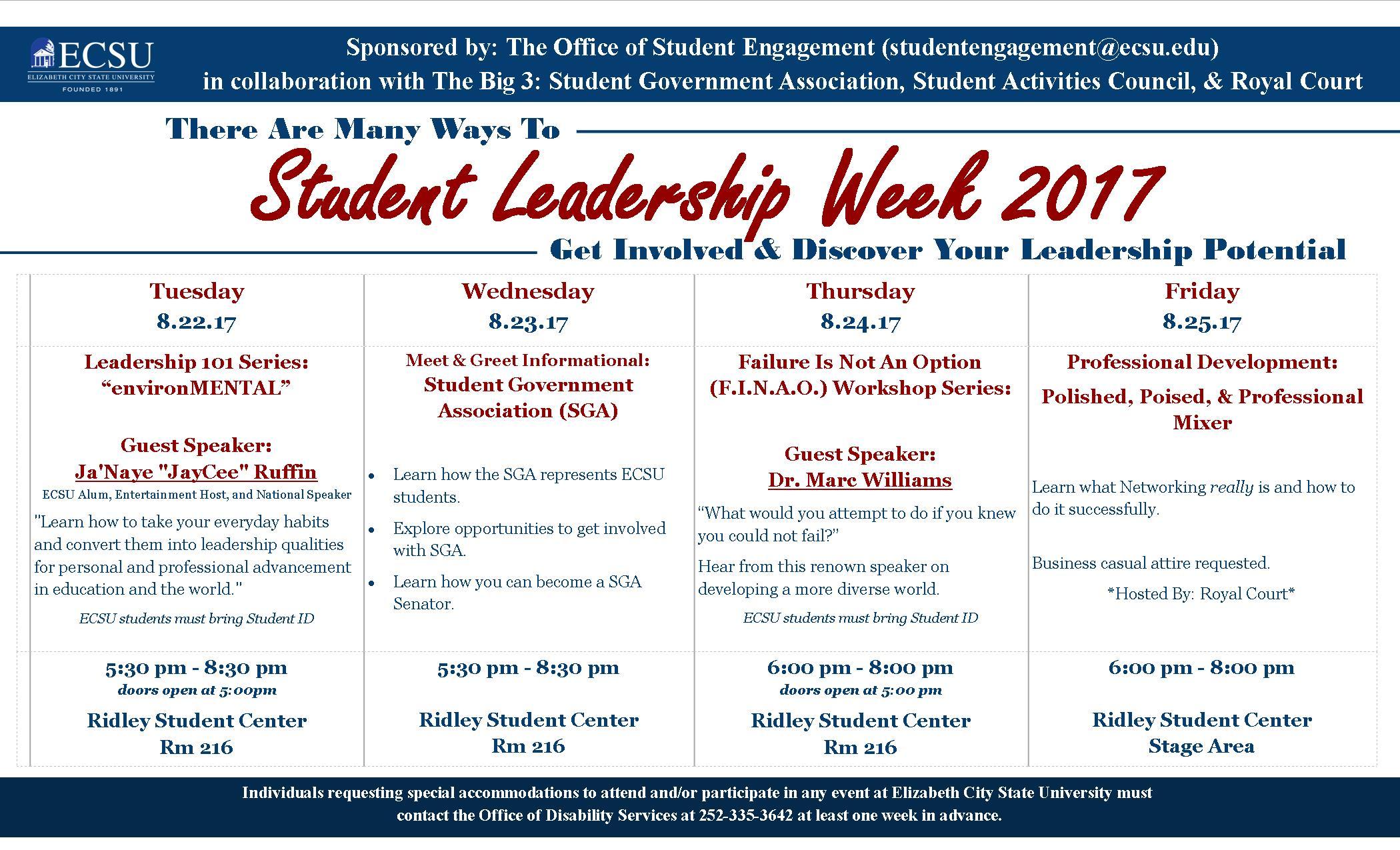 leadership week 2017 calendar