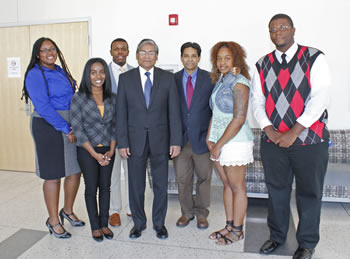 Bangladesh's Ambassador to the U.S., Mohammed Ziauddin, center, encourages ECSU students to learn more about Southeast Asian countries.